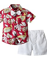 cheap -Kids Boys' Basic Print Short Sleeve Clothing Set Red