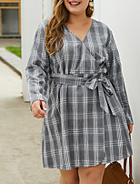 cheap -Women's A-Line Dress Knee Length Dress - Long Sleeve Houndstooth Spring Fall Work 2020 Gray XL XXL XXXL XXXXL