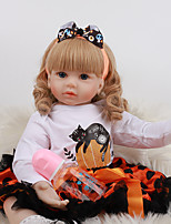 cheap -FeelWind 24 inch Reborn Doll Baby & Toddler Toy Reborn Toddler Doll Baby Girl Gift Cute Lovely Parent-Child Interaction Tipped and Sealed Nails 3/4 Silicone Limbs and Cotton Filled Body LV098 with