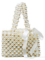 cheap -Women's Pearls Straw Top Handle Bag Straw Bag Solid Color White