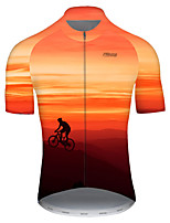 cheap -21Grams Men's Short Sleeve Cycling Jersey Nylon Polyester Red / Yellow 3D Gradient Bike Jersey Top Mountain Bike MTB Road Bike Cycling Breathable Quick Dry Ultraviolet Resistant Sports Clothing