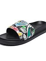 cheap -Women's Slippers & Flip-Flops Summer Flat Heel Open Toe Daily PU Black / White / Pink / Blue