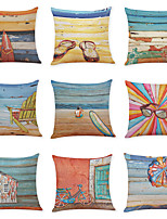 cheap -9 pcs Linen Pillow Cover, Summer Beach Casual Modern Square Vintage