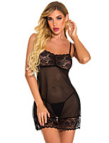 cheap -Women's Lace Backless Suits Nightwear Solid Colored Black S M L