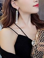 cheap -Women's AAA Cubic Zirconia Earrings Tassel Fringe Paper Clip Stylish Artistic Luxury Trendy Platinum Plated Earrings Jewelry Black / Silver / White / Purple For Wedding Party Gift Daily Work 1 Pair