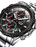 cheap -LIGE Men's Sport Watch Quartz Modern Style Stylish Stainless Steel Leather Water Resistant / Waterproof Calendar / date / day Analog Outdoor Cool - Red+Silver Red Black / Blue