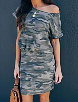 cheap -Women's Sheath Dress Knee Length Dress - Short Sleeves Print Summer Work 2020 Army Green S M L XL