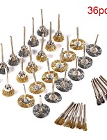 cheap -36pcs Polishing Wire Brush Set Wheel Drill Grinder Stainless Steel Mini Rotary Tools Removal Derusting Buffing Non Slip Welding