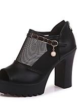 cheap -Women's Heels Summer Block Heel Peep Toe Daily Solid Colored PU White / Black