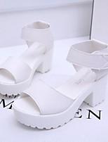 cheap -Women's Sandals Summer Platform Open Toe Daily PU White / Black