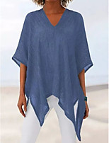 cheap -Women's Blouse Solid Colored Tops V Neck Daily Summer Blue Purple Gray S M L XL 2XL 3XL
