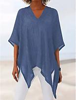 Недорогие -Жен. Блуза Однотонный Верхушки V-образный вырез Повседневные Лето Синий Лиловый Серый S M L XL 2XL 3XL