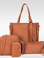 cheap -Women's Zipper PU Bag Set Bag Sets Solid Color Black / Blue / Red