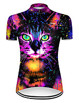 cheap -21Grams Women's Short Sleeve Cycling Jersey Nylon Polyester Black / Red Cat Gradient Animal Bike Jersey Top Mountain Bike MTB Road Bike Cycling Breathable Quick Dry Ultraviolet Resistant Sports