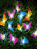 cheap -12 Led Solar Powered Butterfly Fiber Optic Fairy Lights Waterproof Christmas Outdoor Garden Holiday Decoration Lights