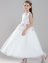 cheap -Ball Gown Round Floor Length Tulle Junior Bridesmaid Dress with Embroidery / Appliques