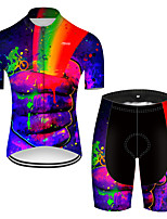 Недорогие -21Grams Муж. С короткими рукавами Велокофты и велошорты Нейлон Полиэстер Красный + синий 3D Радужный Градиент Велоспорт Наборы одежды Дышащий 3D / Эластичная / Горные велосипеды / Быстровысыхающий