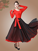 cheap -Ballroom Dance Skirts Bandage Women's Performance Daily Wear Long Sleeve High Modal Chiffon