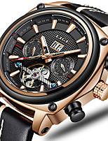 cheap -LIGE Men's Mechanical Watch Automatic self-winding Modern Style Sporty Leather Water Resistant / Waterproof Calendar / date / day Noctilucent Analog - Digital Casual Cool - Black Blue