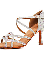 cheap -Women's Latin Shoes / Salsa Shoes Synthetics Buckle Heel Rhinestone / Buckle / Crystals Flared Heel Customizable Dance Shoes Black / Gold / Silver