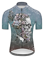 cheap -21Grams Men's Short Sleeve Cycling Jersey Nylon Polyester Blue Novelty Skull Floral Botanical Bike Jersey Top Mountain Bike MTB Road Bike Cycling Breathable Quick Dry Ultraviolet Resistant Sports