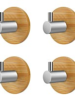 cheap -Clothes Hooks Towel Rack Robe Hook Bamboo Stainless Steel Hooks Set Bathroom Accessory Set