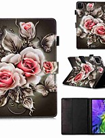 cheap -Case For Apple iPad Pro 11''(2020) / iPad 2019 10.2 / Ipad air3 10.5' 2019 Wallet / Card Holder / with Stand Full Body Cases Rose on Black PU Leather / TPU for iPad Air / iPad Air2 / iPad (2018)