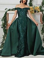 cheap -Mermaid / Trumpet Elegant Luxurious Engagement Formal Evening Dress Off Shoulder Short Sleeve Sweep / Brush Train Satin with Sequin Overskirt 2020