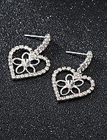 cheap -Women's Earrings Round Cut Heart Stylish Korean Sweet Earrings Jewelry Rose Gold / Silver For Gift Daily Work 1 Pair