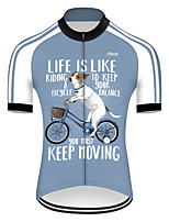 cheap -21Grams Men's Short Sleeve Cycling Jersey Nylon Polyester Blue / White Dog Animal Funny Bike Jersey Top Mountain Bike MTB Road Bike Cycling Breathable Quick Dry Ultraviolet Resistant Sports Clothing