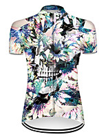 cheap -21Grams Women's Short Sleeve Cycling Jersey Nylon Polyester Blue / White Novelty Skull Floral Botanical Bike Jersey Top Mountain Bike MTB Road Bike Cycling Breathable Quick Dry Ultraviolet Resistant