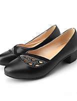 cheap -Women's Heels Spring / Fall Block Heel Round Toe Daily Outdoor PU Black / Brown