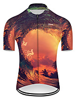 cheap -21Grams Men's Short Sleeve Cycling Jersey Nylon Polyester Black / Orange 3D Gradient Bike Jersey Top Mountain Bike MTB Road Bike Cycling Breathable Quick Dry Ultraviolet Resistant Sports Clothing