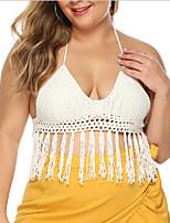 cheap -Women's Bikini Swimwear Swimsuit - Solid Colored XL XXL White