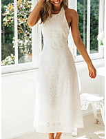 cheap -Women's A-Line Dress Maxi long Dress - Sleeveless Solid Color Summer Casual Chinoiserie 2020 White S M L XL