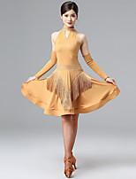 cheap -Latin Salsa Dance Dress Tassel Crystals / Rhinestones Women's Training Performance Sleeveless Natural Milk Fiber Polyester