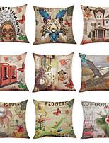 cheap -9 pcs Linen Pillow Cover, Art Deco Retro Casual Vintage Square Traditional Classic