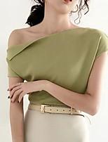 Недорогие -Жен. Блуза Однотонный Верхушки С открытыми плечами Повседневные Лето Белый Черный Желтый Один размер