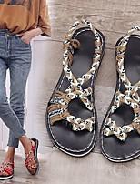 cheap -Women's Sandals Summer Flat Heel Open Toe Daily Canvas Black / Red / Khaki