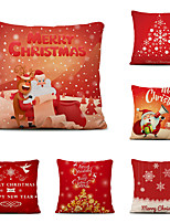 cheap -Set of 6 Christmas Pillow Covers Cotton Linen Santa Tree Reindeer Holiday Christmas Decoration