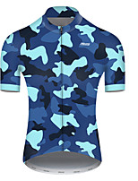 cheap -21Grams Men's Short Sleeve Cycling Jersey Nylon Polyester Black / Blue Patchwork Camo / Camouflage Bike Jersey Top Mountain Bike MTB Road Bike Cycling Breathable Quick Dry Ultraviolet Resistant Sports