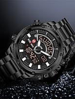 cheap -Men's Sport Watch Quartz Modern Style Sporty Stainless Steel Water Resistant / Waterproof Calendar / date / day Alarm Clock Analog - Digital Casual Outdoor - Black+Gloden White+Silver Black