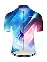 cheap -21Grams Men's Short Sleeve Cycling Jersey Nylon Polyester Red+Blue 3D Patchwork Gradient Bike Jersey Top Mountain Bike MTB Road Bike Cycling Breathable Quick Dry Ultraviolet Resistant Sports Clothing