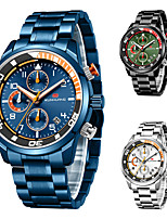 cheap -Men's Sport Watch Quartz Stylish Stainless Steel Water Resistant / Waterproof Calendar / date / day Noctilucent Analog Casual Cool - White Black Blue