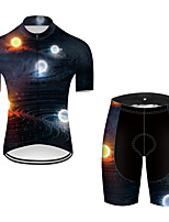 cheap -21Grams Men's Short Sleeve Cycling Jersey with Shorts Nylon Polyester Black / White Polka Dot 3D Gradient Bike Clothing Suit Breathable 3D Pad Quick Dry Ultraviolet Resistant Reflective Strips Sports