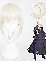 cheap -Cosplay Wig Saber Alter Fate stay night kinky Straight Cosplay With Bangs Wig Short Grey Synthetic Hair 14 inch Women's Anime Cosplay Best Quality Gray