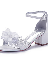 cheap -Women's Wedding Shoes Spring / Summer Cuban Heel Open Toe Classic Sweet Minimalism Wedding Party & Evening Rhinestone / Imitation Pearl / Flower Solid Colored Satin White / Ivory