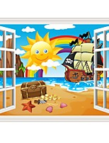 cheap -Sun Beach Rainbow Wall Stickers Plane Wall Stickers Decorative Wall Stickers PVC Home Decoration Wall Decal Wall Window Decoration 1pc