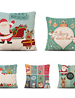 cheap -Set of 5 Linen Cotton Pillow Cover Holiday Christmas Modern Christmas Throw Pillow