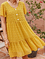 cheap -Women's A-Line Dress Knee Length Dress - Short Sleeves Solid Color Summer Casual 2020 Black Yellow Blushing Pink S M L XL